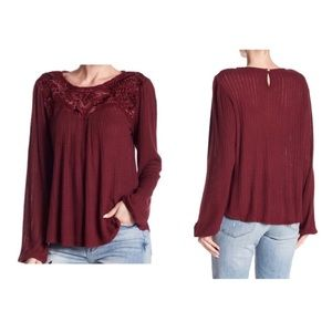 Lucky Brand Burgundy Appliqué Embroidered Blouse M